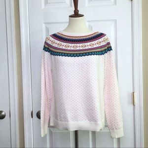 Talbots White Pink Fair Isle Pullover Sweater